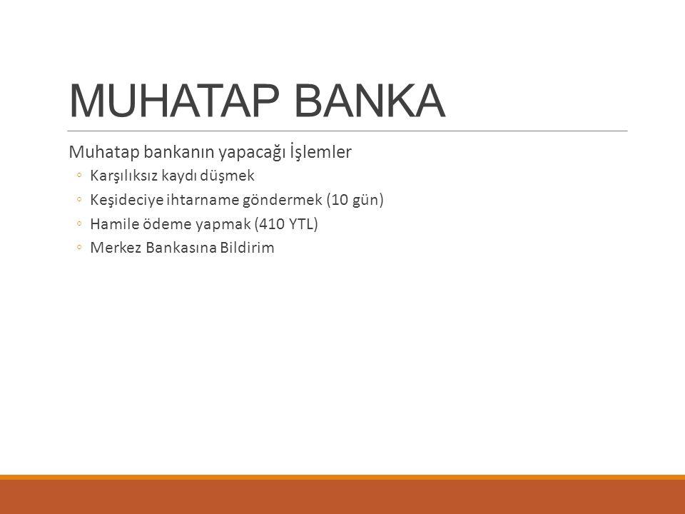 MUHATAP BANKA Muhatap bankanın yapacağı İşlemler