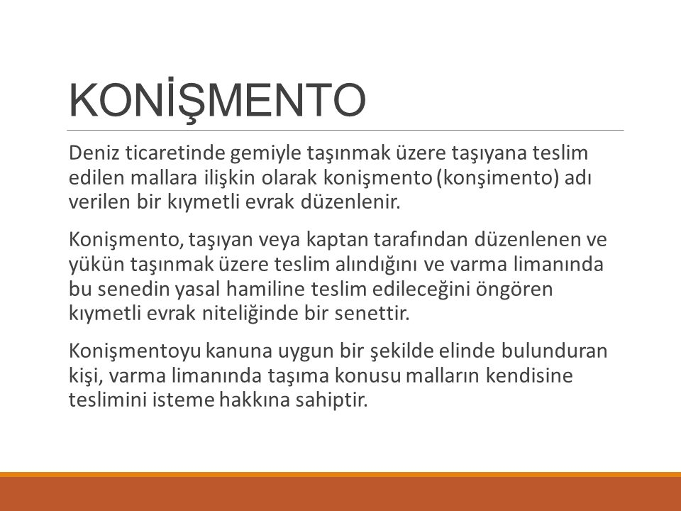 KONİŞMENTO