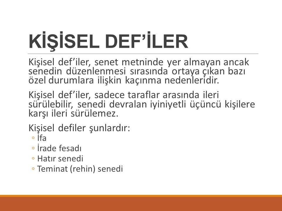 KİŞİSEL DEF'İLER