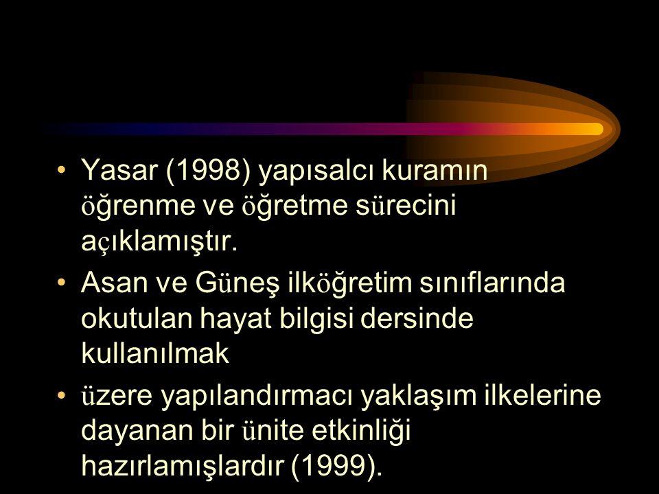Yasar (1998) yapısalcı kuramın öğrenme ve öğretme sürecini açıklamıştır.