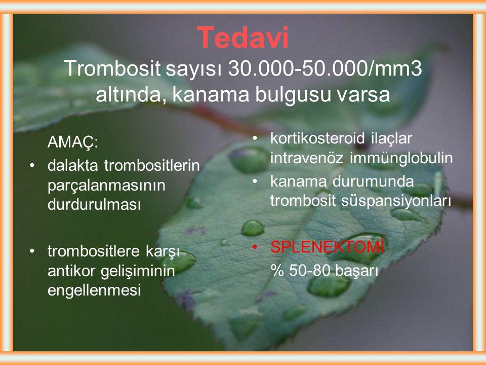 Tedavi Trombosit sayısı 30. 000-50