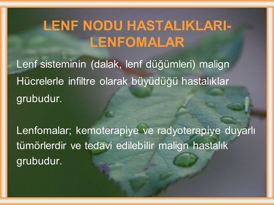 LENF NODU HASTALIKLARI- LENFOMALAR