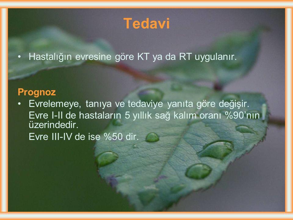 Tedavi Hastalığın evresine göre KT ya da RT uygulanır. Prognoz