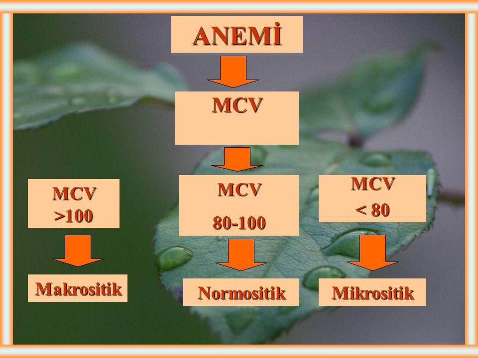 ANEMİ MCV MCV 80-100 MCV < 80 MCV >100 Makrositik Normositik