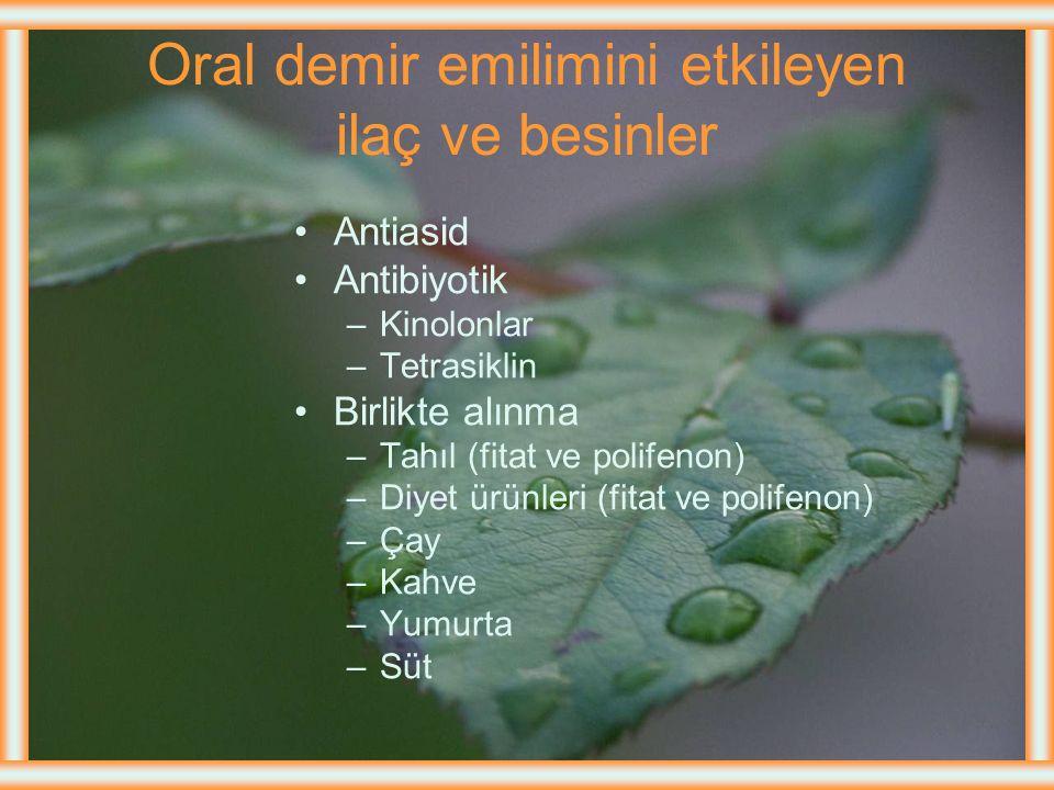 Oral demir emilimini etkileyen ilaç ve besinler