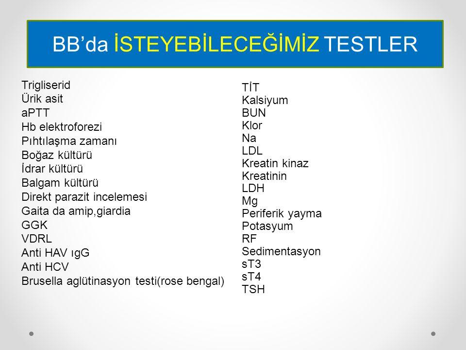 BB'da İSTEYEBİLECEĞİMİZ TESTLER