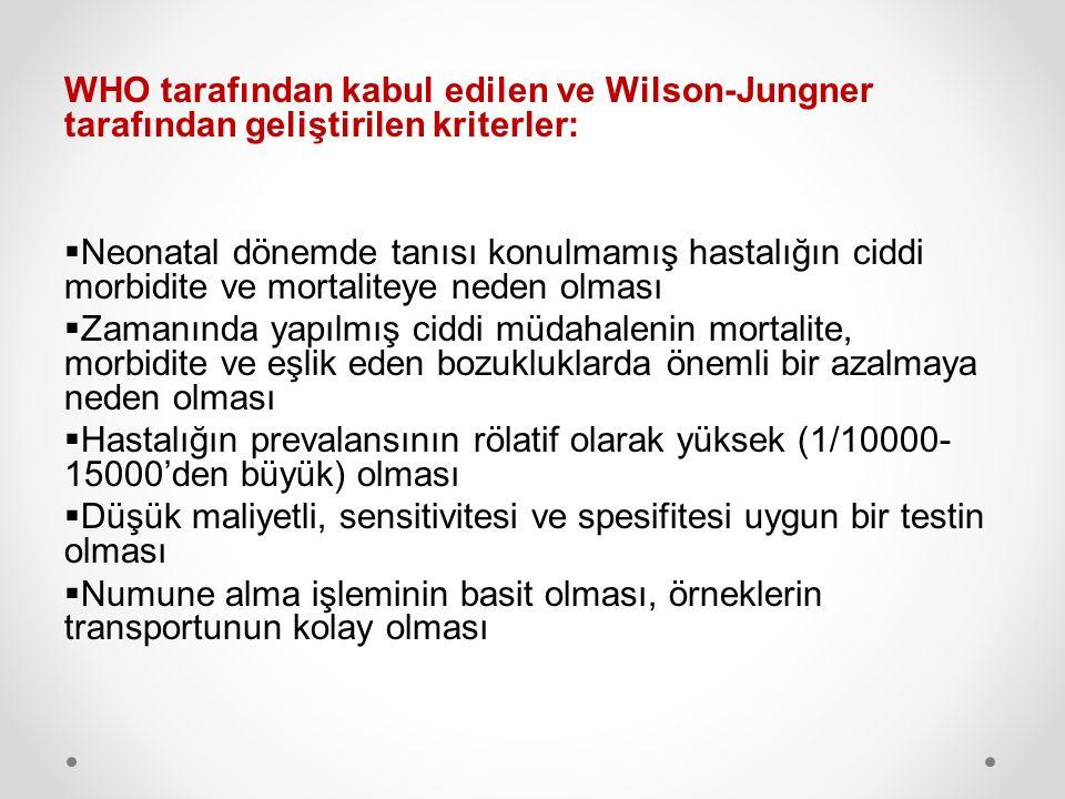 WHO tarafından kabul edilen ve Wilson-Jungner tarafından geliştirilen kriterler: