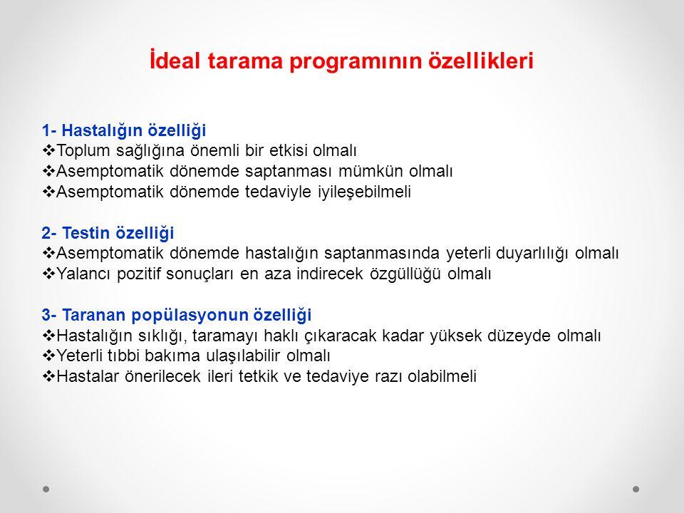 İdeal tarama programının özellikleri