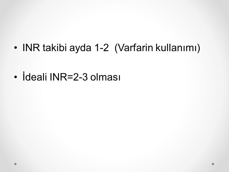 INR takibi ayda 1-2 (Varfarin kullanımı)