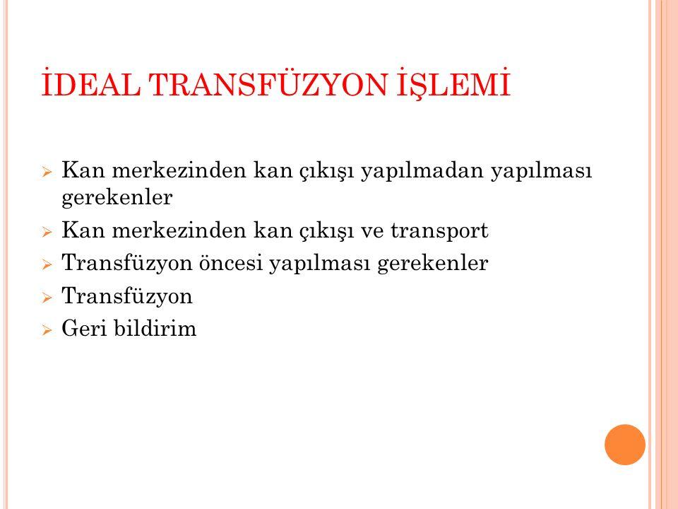 İDEAL TRANSFÜZYON İŞLEMİ