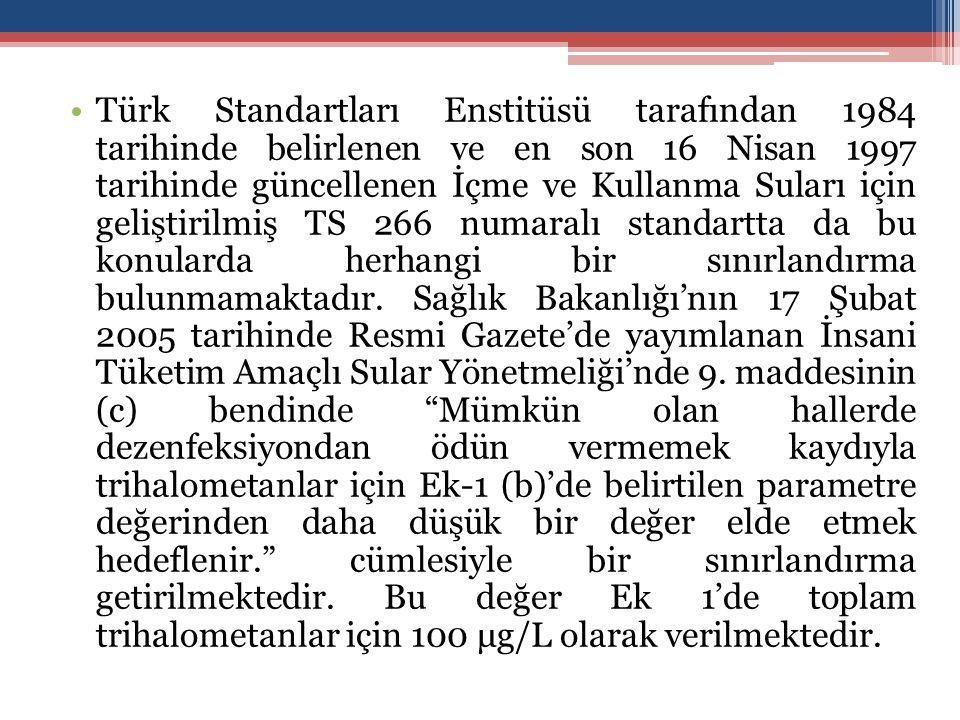 Türk Standartları Enstitüsü tarafından 1984 tarihinde belirlenen ve en son 16 Nisan 1997 tarihinde güncellenen İçme ve Kullanma Suları için geliştirilmiş TS 266 numaralı standartta da bu konularda herhangi bir sınırlandırma bulunmamaktadır.
