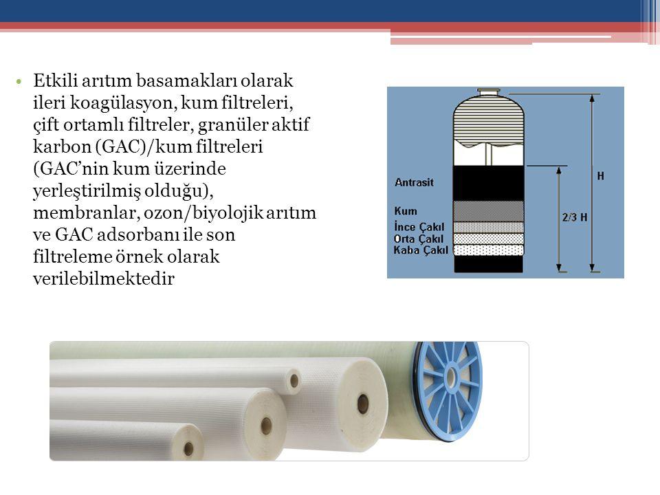 Etkili arıtım basamakları olarak ileri koagülasyon, kum filtreleri, çift ortamlı filtreler, granüler aktif karbon (GAC)/kum filtreleri (GAC'nin kum üzerinde yerleştirilmiş olduğu), membranlar, ozon/biyolojik arıtım ve GAC adsorbanı ile son filtreleme örnek olarak verilebilmektedir