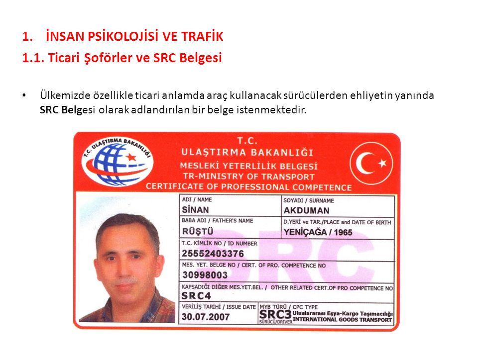 İNSAN PSİKOLOJİSİ VE TRAFİK 1.1. Ticari Şoförler ve SRC Belgesi