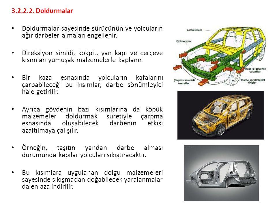 3.2.2.2. Doldurmalar Doldurmalar sayesinde sürücünün ve yolcuların ağır darbeler almaları engellenir.