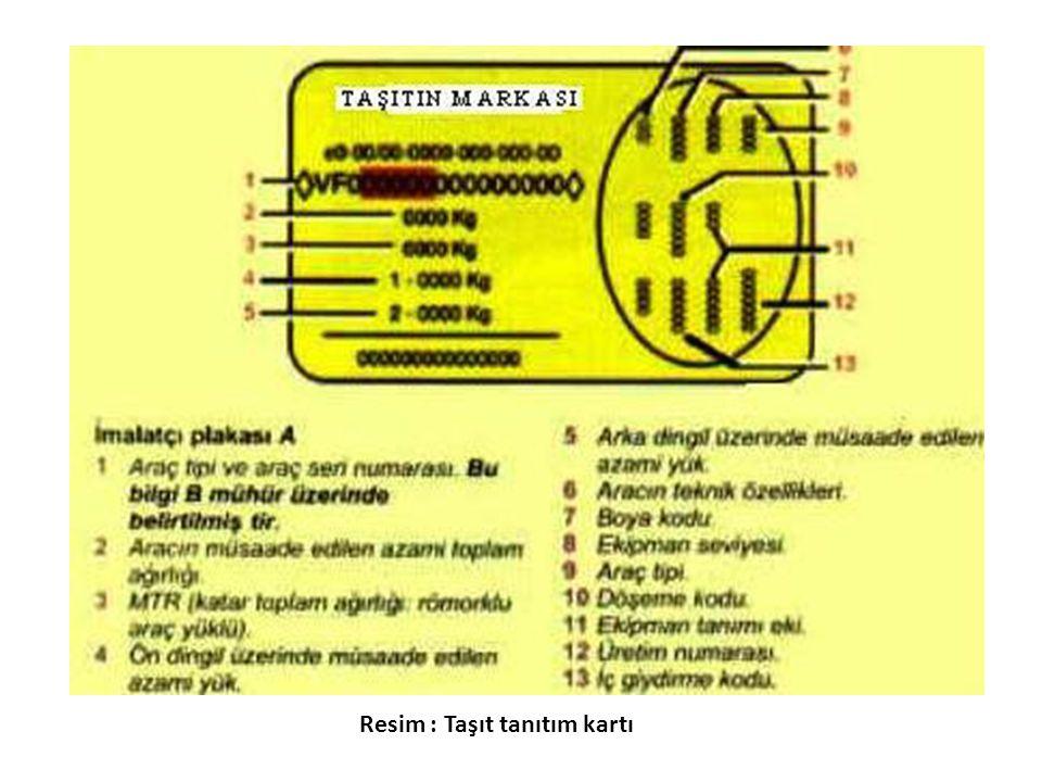 Resim : Taşıt tanıtım kartı