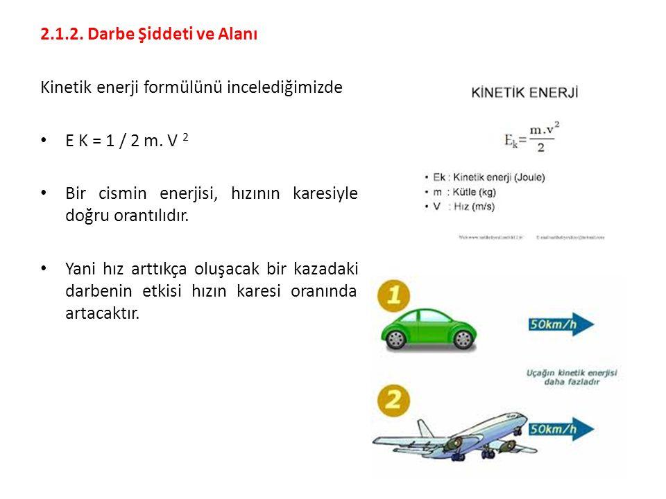 2.1.2. Darbe Şiddeti ve Alanı Kinetik enerji formülünü incelediğimizde. E K = 1 / 2 m. V 2.