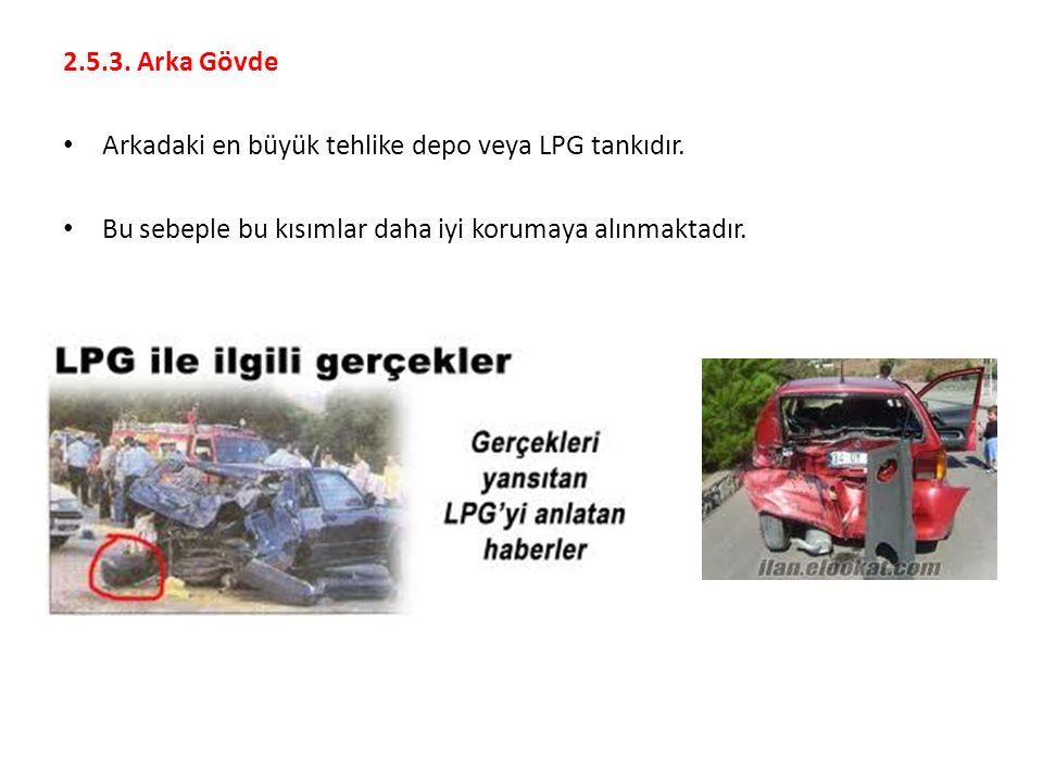 2.5.3. Arka Gövde Arkadaki en büyük tehlike depo veya LPG tankıdır.
