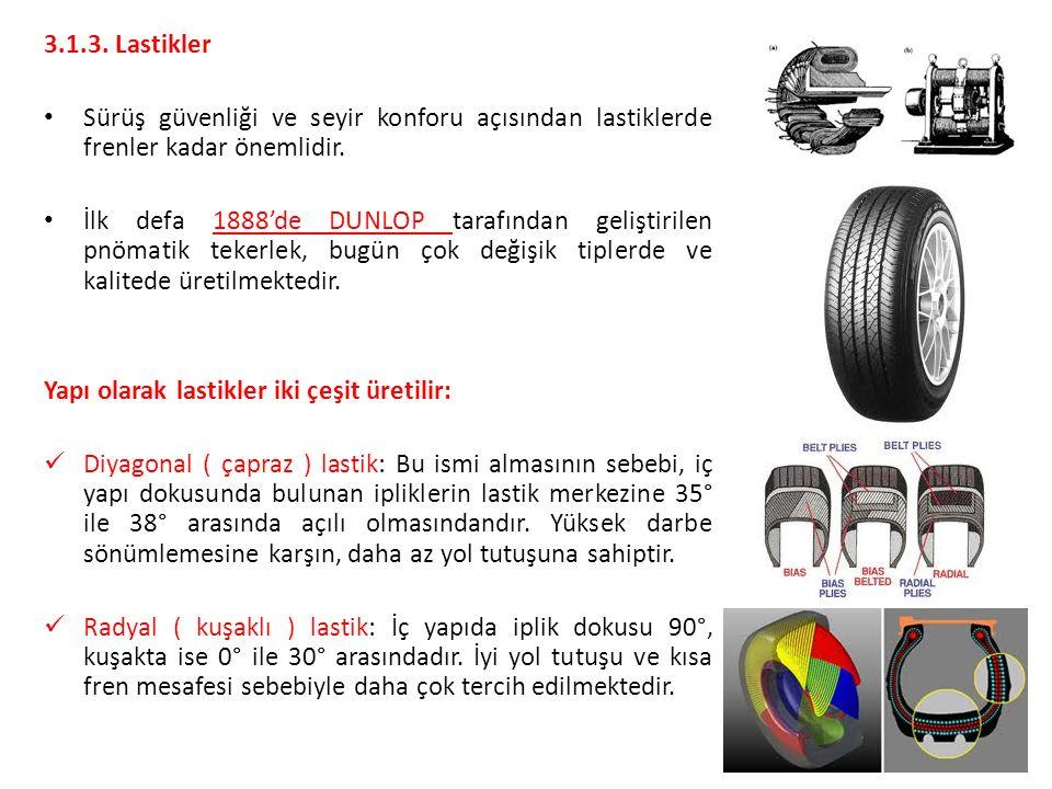 3.1.3. Lastikler Sürüş güvenliği ve seyir konforu açısından lastiklerde frenler kadar önemlidir.