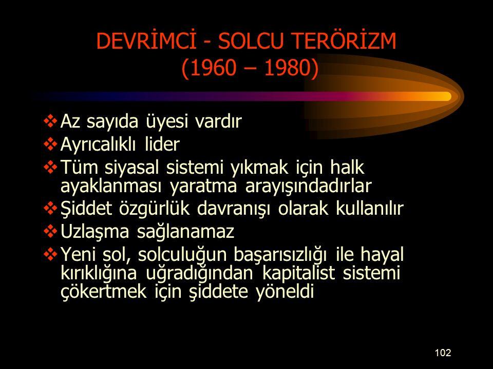 DEVRİMCİ - SOLCU TERÖRİZM (1960 – 1980)