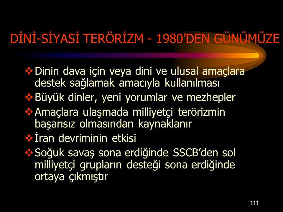 DİNİ-SİYASİ TERÖRİZM - 1980'DEN GÜNÜMÜZE
