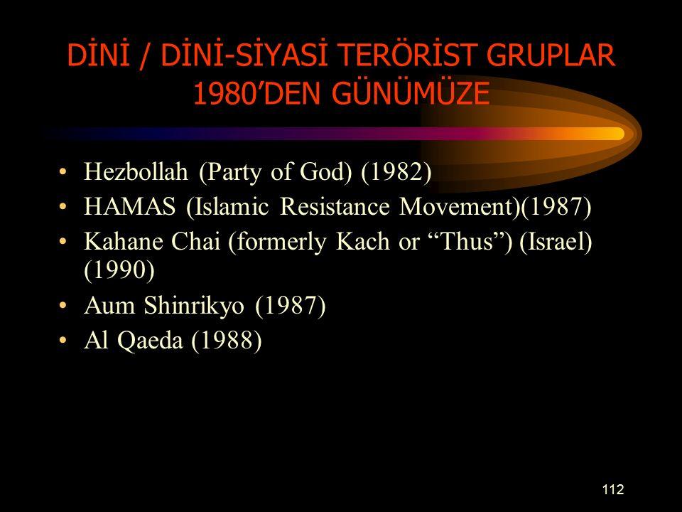 DİNİ / DİNİ-SİYASİ TERÖRİST GRUPLAR 1980'DEN GÜNÜMÜZE