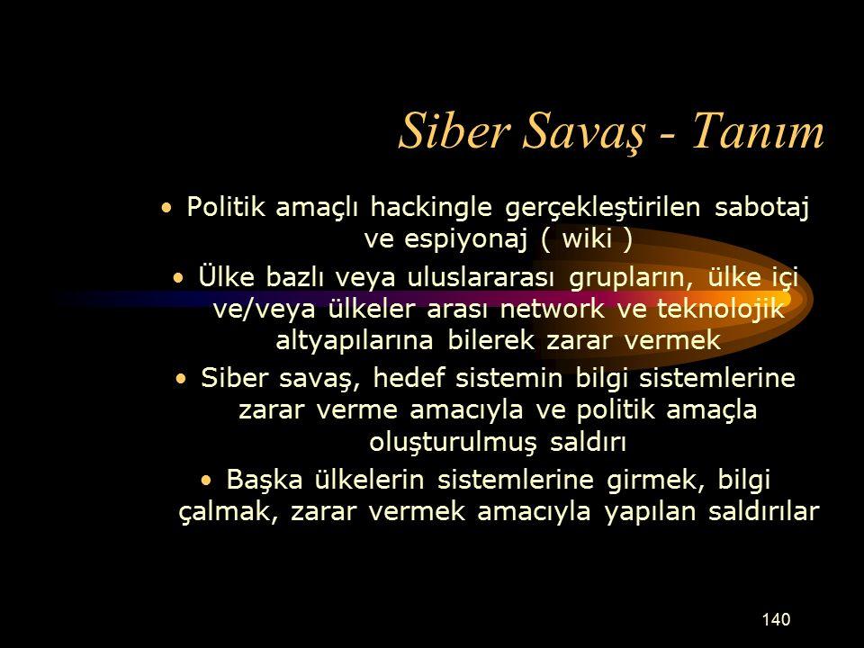 Siber Savaş - Tanım Politik amaçlı hackingle gerçekleştirilen sabotaj ve espiyonaj ( wiki )
