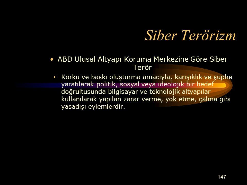 ABD Ulusal Altyapı Koruma Merkezine Göre Siber Terör