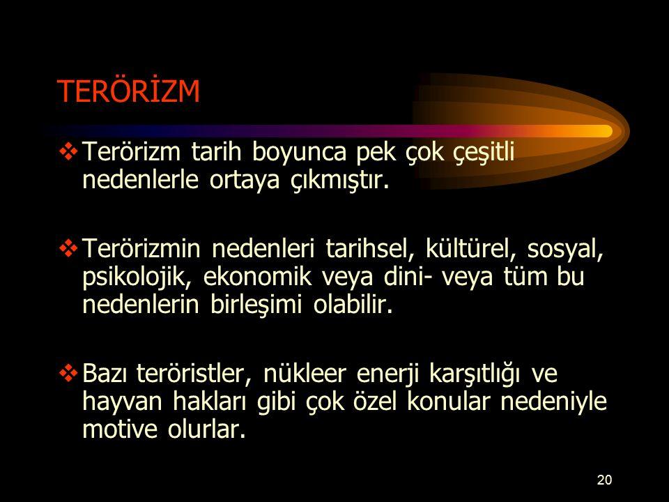 TERÖRİZM Terörizm tarih boyunca pek çok çeşitli nedenlerle ortaya çıkmıştır.