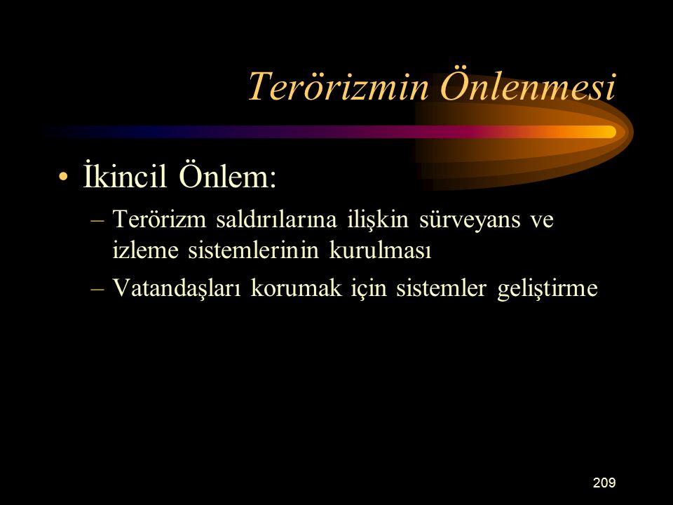 Terörizmin Önlenmesi İkincil Önlem: