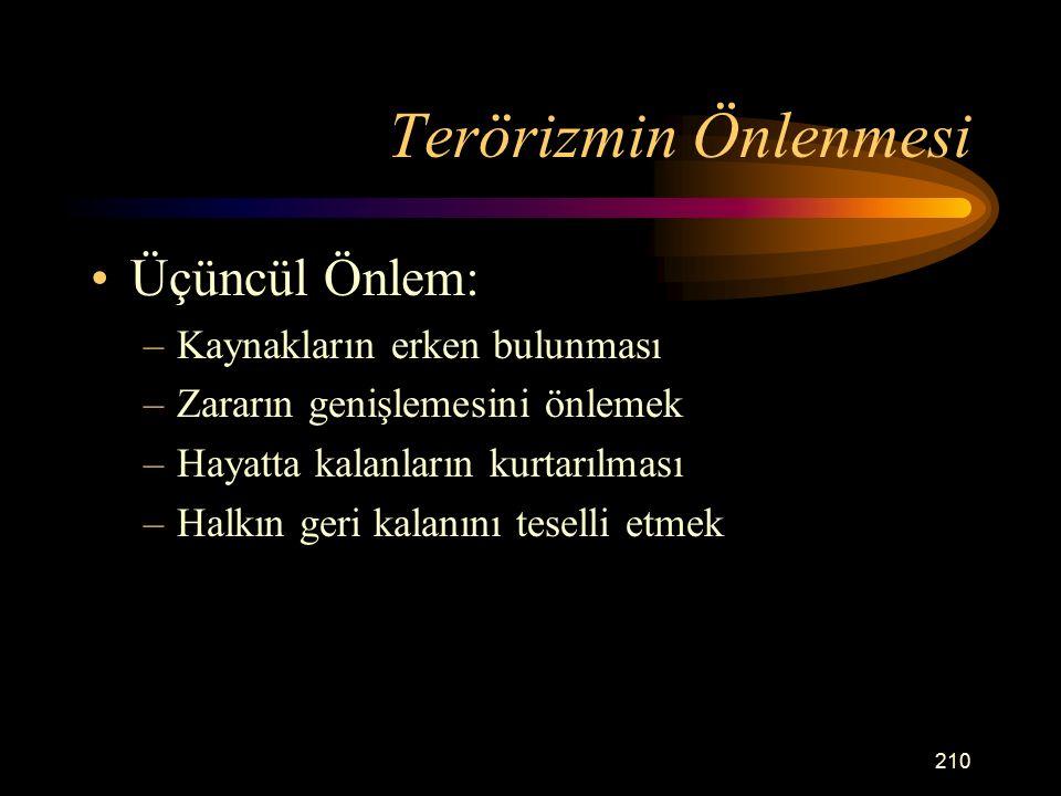 Terörizmin Önlenmesi Üçüncül Önlem: Kaynakların erken bulunması