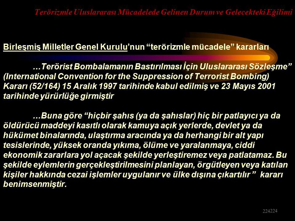 Birleşmiş Milletler Genel Kurulu'nun terörizmle mücadele kararları