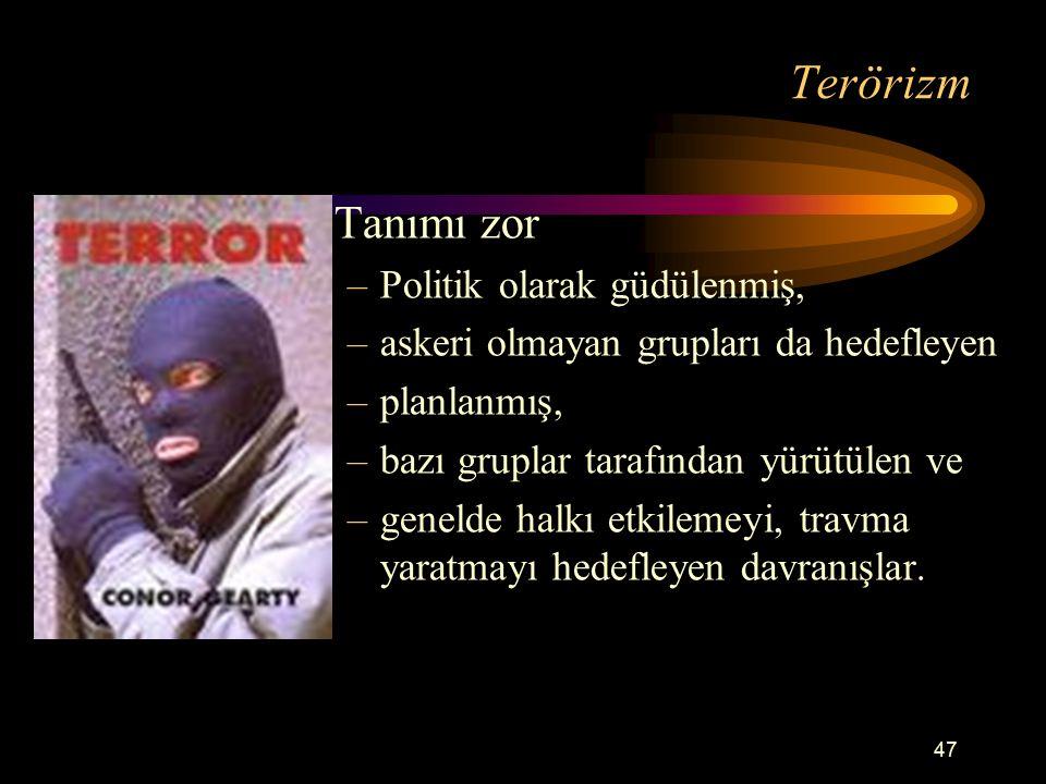 Terörizm Tanımı zor Politik olarak güdülenmiş,