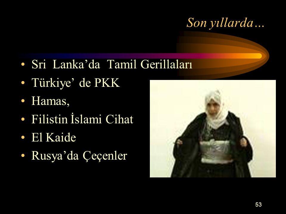 Son yıllarda… Sri Lanka'da Tamil Gerillaları Türkiye' de PKK Hamas,