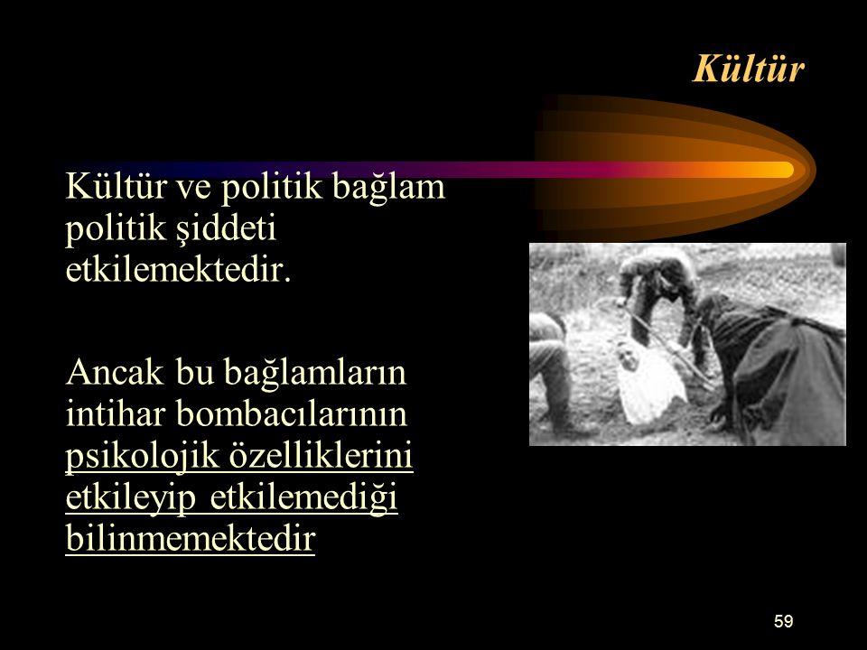 Kültür Kültür ve politik bağlam politik şiddeti etkilemektedir.
