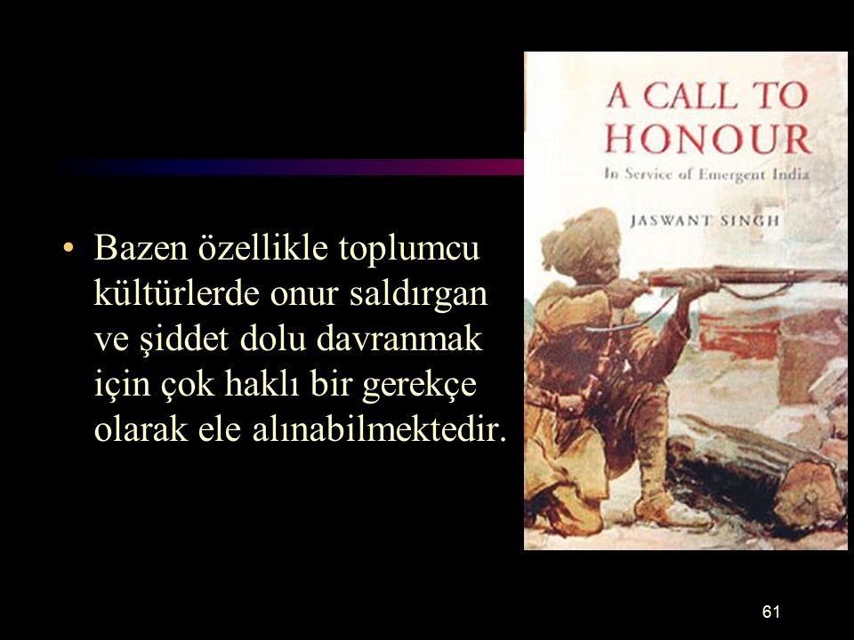 Onur Bazen özellikle toplumcu kültürlerde onur saldırgan ve şiddet dolu davranmak için çok haklı bir gerekçe olarak ele alınabilmektedir.