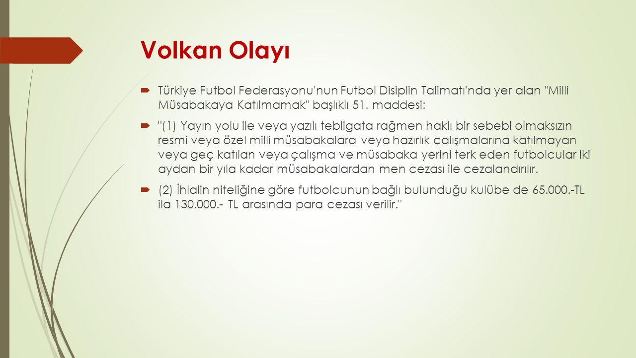 Volkan Olayı Türkiye Futbol Federasyonu nun Futbol Disiplin Talimatı nda yer alan Milli Müsabakaya Katılmamak başlıklı 51. maddesi: