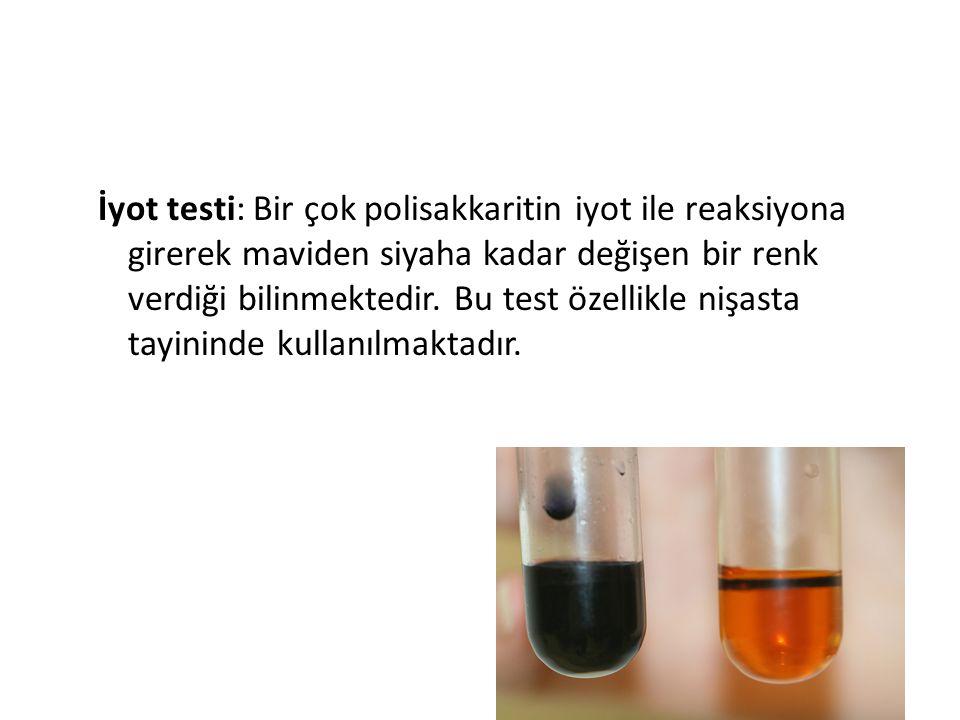 İyot testi: Bir çok polisakkaritin iyot ile reaksiyona girerek maviden siyaha kadar değişen bir renk verdiği bilinmektedir.