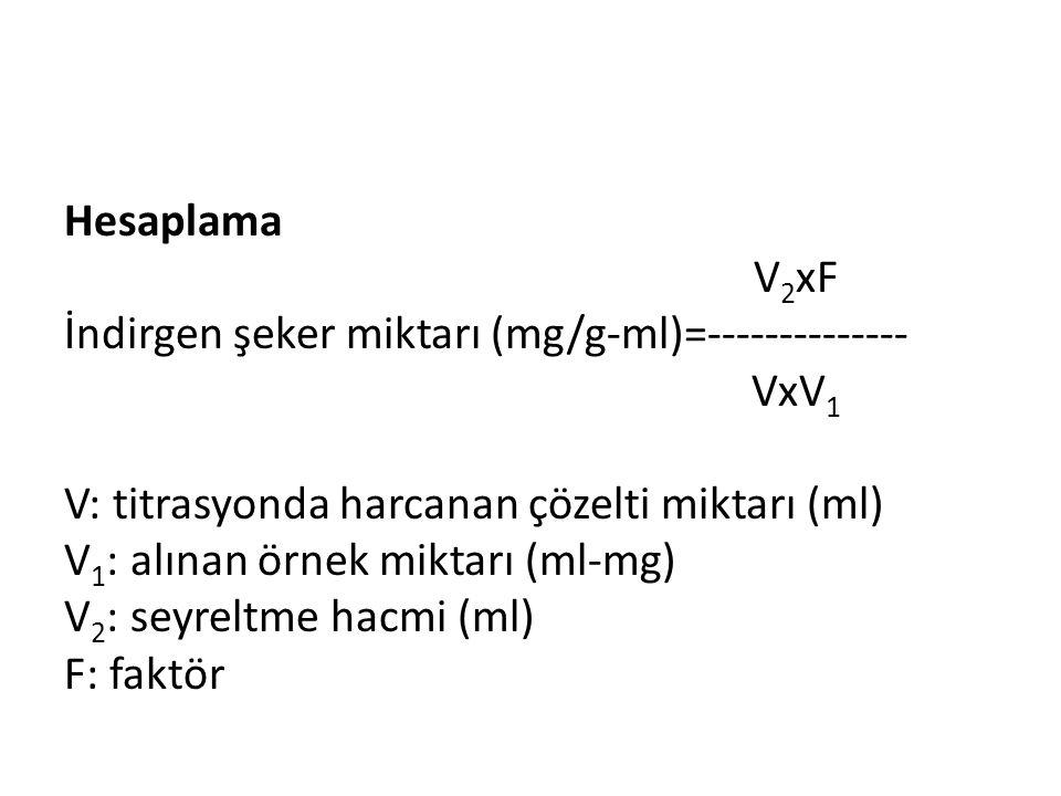Hesaplama V2xF İndirgen şeker miktarı (mg/g-ml)=-------------- VxV1 V: titrasyonda harcanan çözelti miktarı (ml) V1: alınan örnek miktarı (ml-mg) V2: seyreltme hacmi (ml) F: faktör