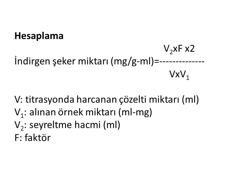 Hesaplama V2xF x2 İndirgen şeker miktarı (mg/g-ml)=-------------- VxV1 V: titrasyonda harcanan çözelti miktarı (ml) V1: alınan örnek miktarı (ml-mg) V2: seyreltme hacmi (ml) F: faktör