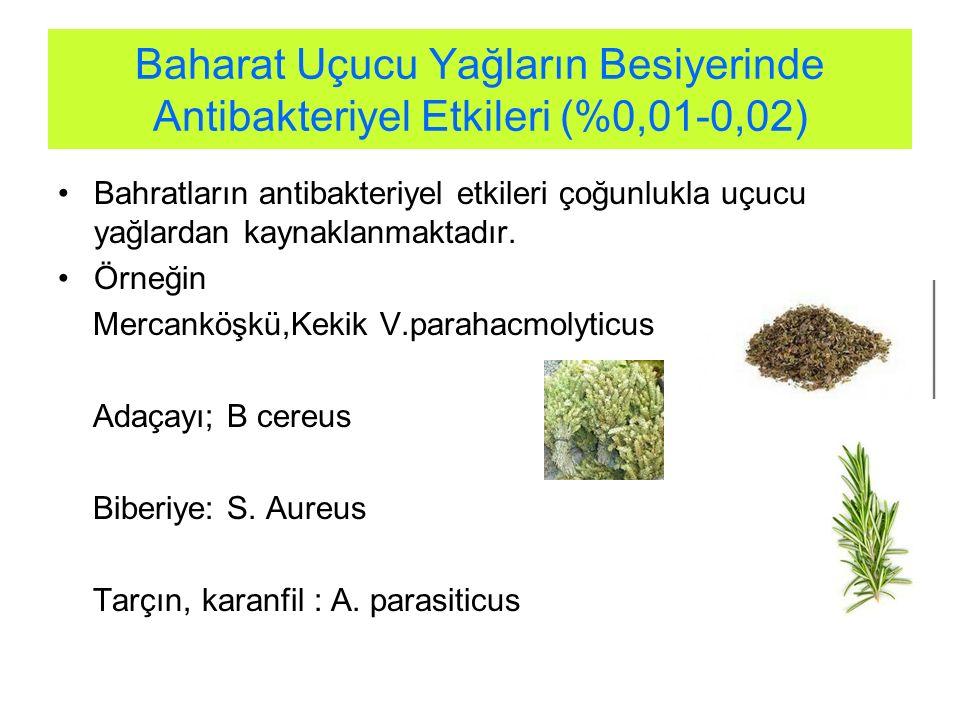 Baharat Uçucu Yağların Besiyerinde Antibakteriyel Etkileri (%0,01-0,02)