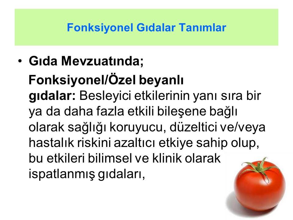 Fonksiyonel Gıdalar Tanımlar