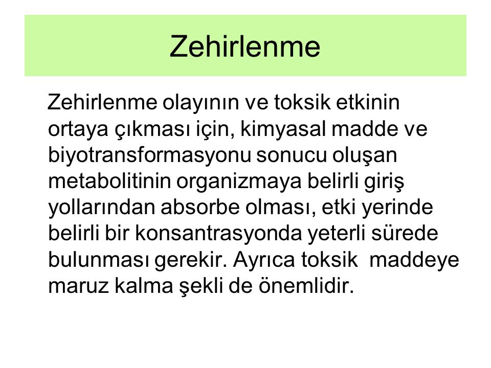 Zehirlenme