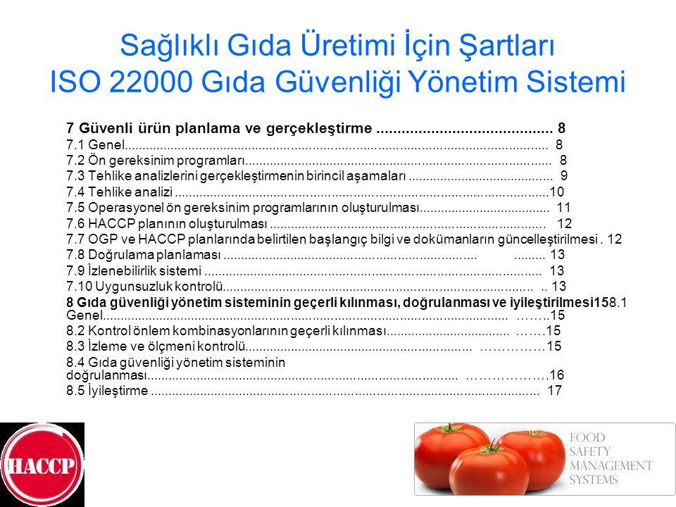 Sağlıklı Gıda Üretimi İçin Şartları ISO 22000 Gıda Güvenliği Yönetim Sistemi