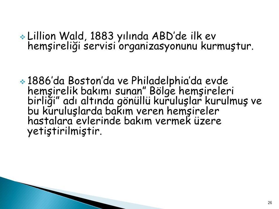 Lillion Wald, 1883 yılında ABD'de ilk ev hemşireliği servisi organizasyonunu kurmuştur.