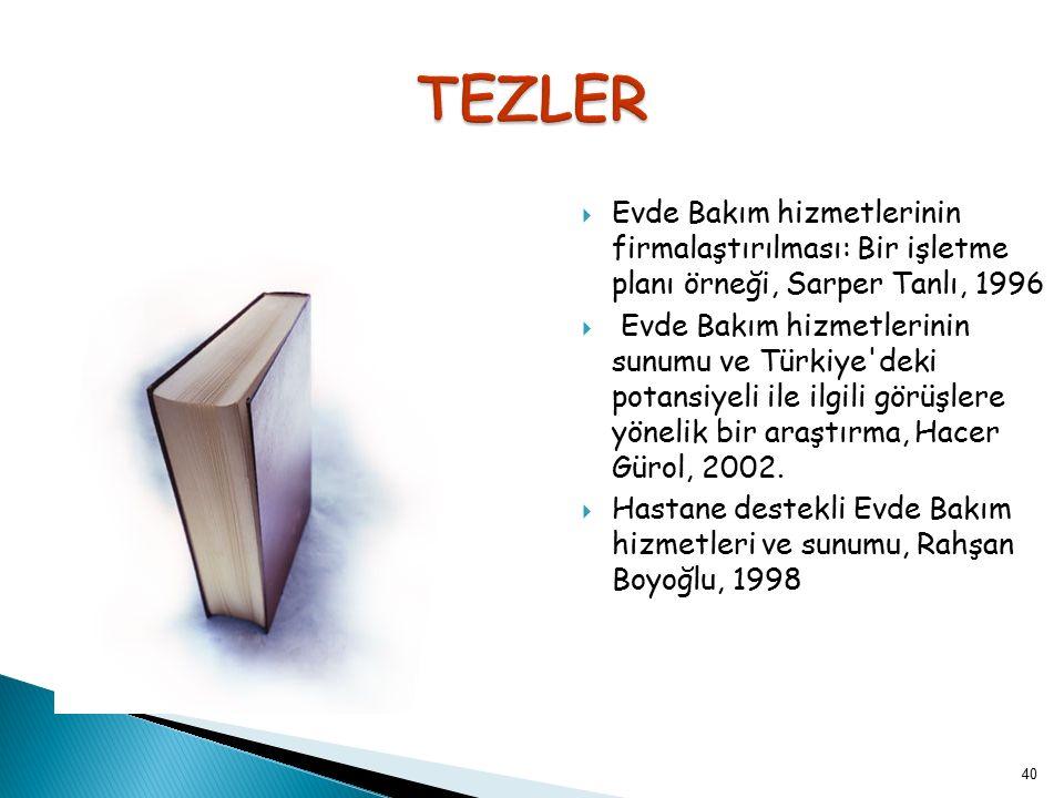 TEZLER Evde Bakım hizmetlerinin firmalaştırılması: Bir işletme planı örneği, Sarper Tanlı, 1996.