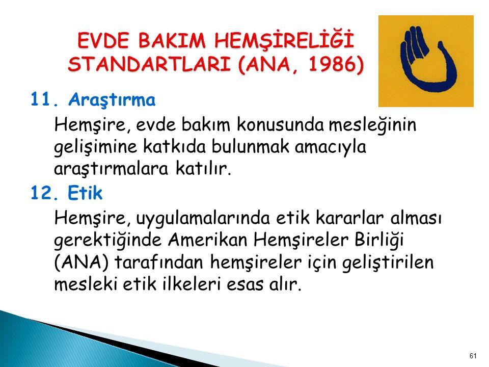 EVDE BAKIM HEMŞİRELİĞİ STANDARTLARI (ANA, 1986)