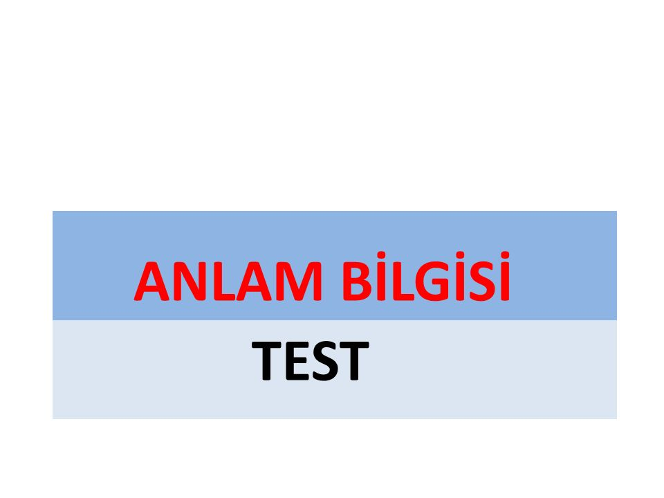 ANLAM BİLGİSİ TEST