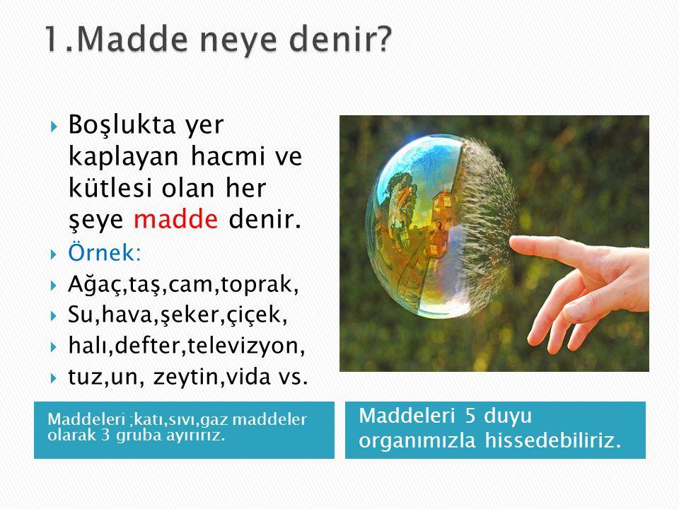 1.Madde neye denir Boşlukta yer kaplayan hacmi ve kütlesi olan her şeye madde denir. Örnek: Ağaç,taş,cam,toprak,