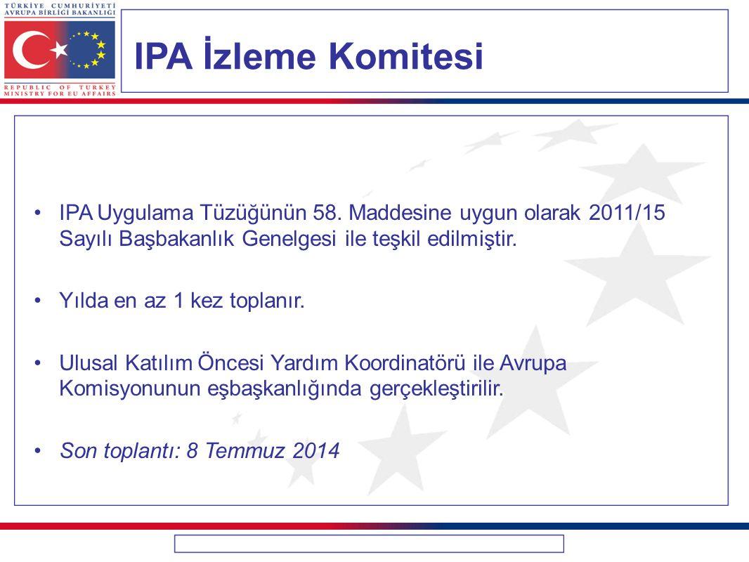 IPA İzleme Komitesi IPA Uygulama Tüzüğünün 58. Maddesine uygun olarak 2011/15 Sayılı Başbakanlık Genelgesi ile teşkil edilmiştir.