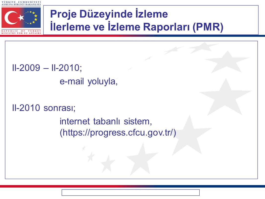 Proje Düzeyinde İzleme İlerleme ve İzleme Raporları (PMR)